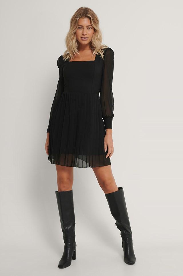 Pleated Mini Dress Black