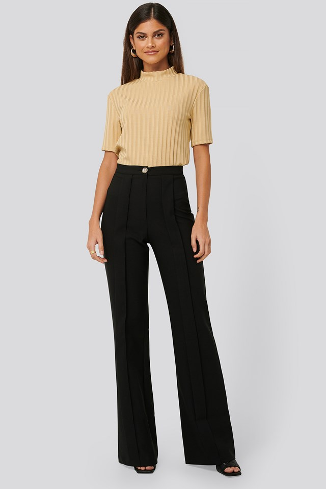 Pleated Straight Pants Black