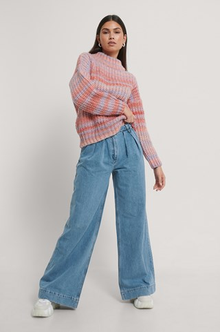 Blue Pleated Wide Jeans