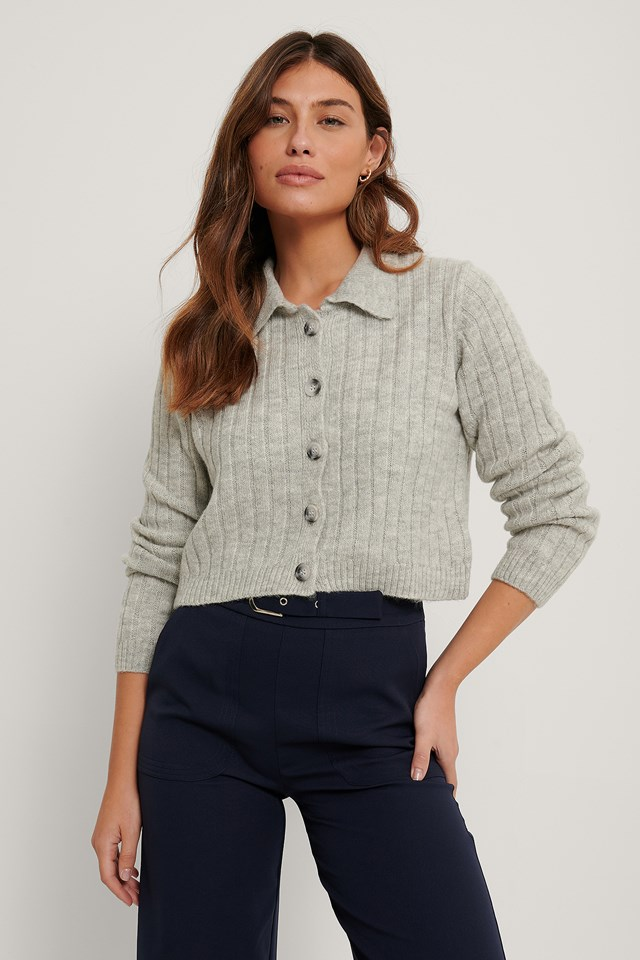 Poloneck Knit Cardigan Gray