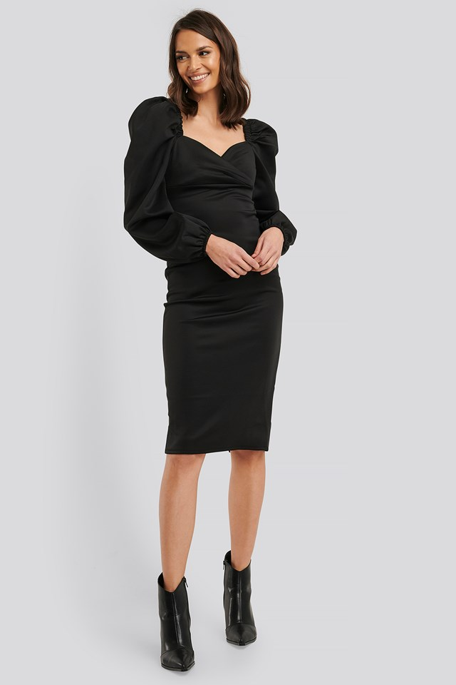 Puff Long Sleeve Midi Dress Black