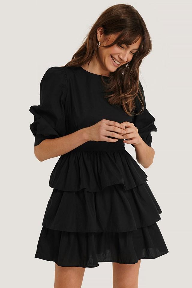 Puff Sleeve Ruffle Mini Dress Black