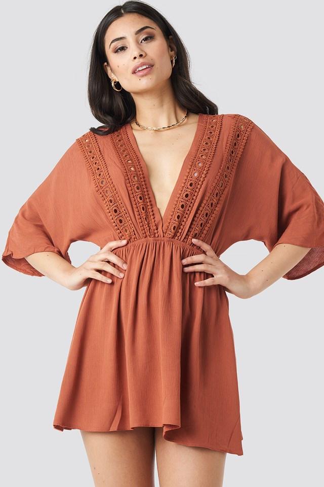Ribbon Accessory Detailed Dress Cinnamon