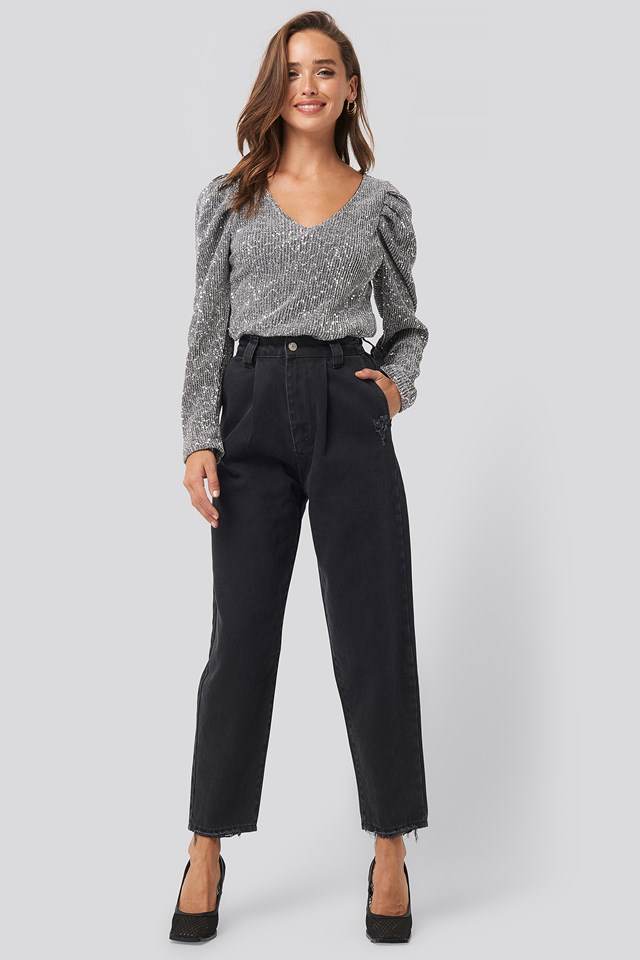 Ripped Detail High Waist Mom Jeans Black