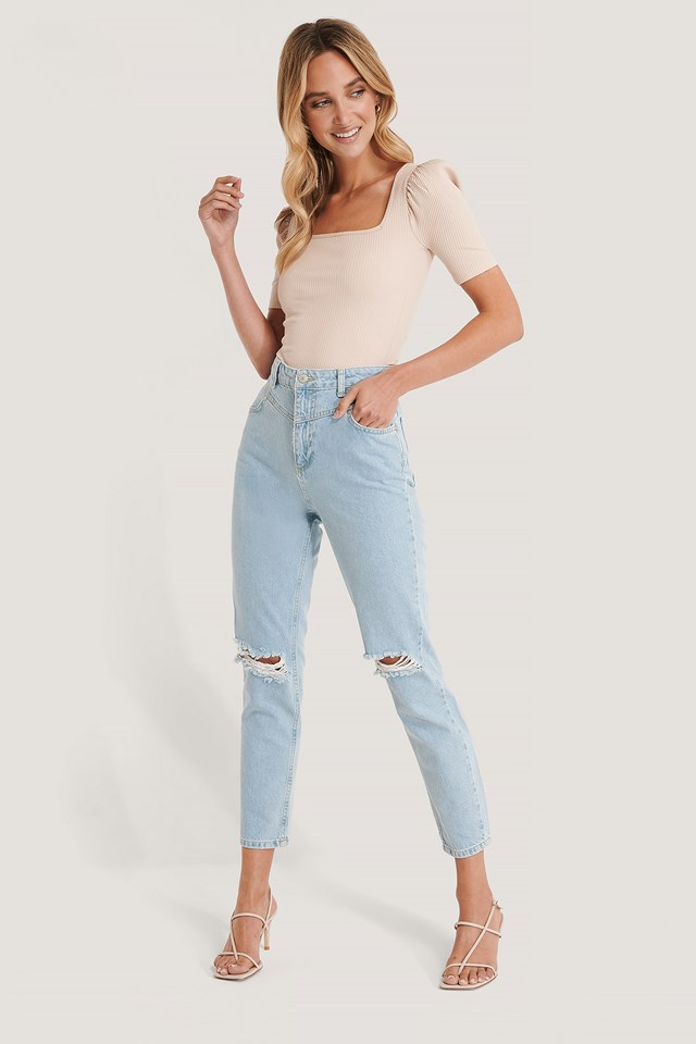 Ripped High Waist Mom Jeans Blue