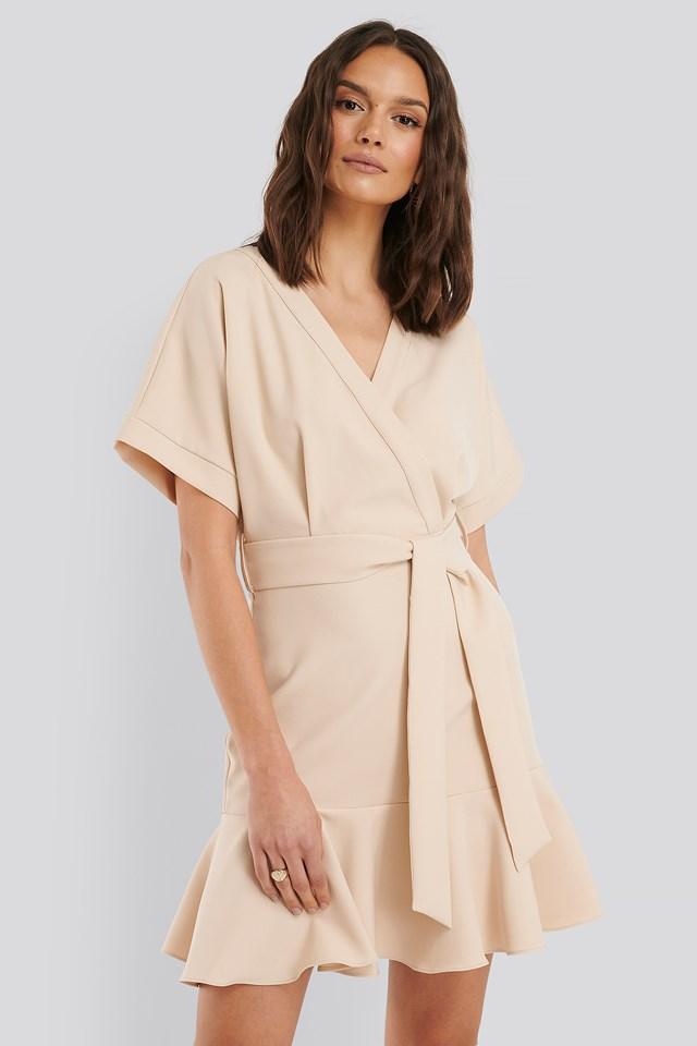 Ruffle Detail Wrap Dress Stone