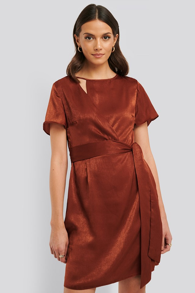 Satin Mini Dress Cinnamon