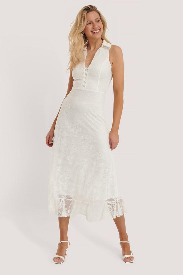 Sleeveless Lace Midi Dress Ecru