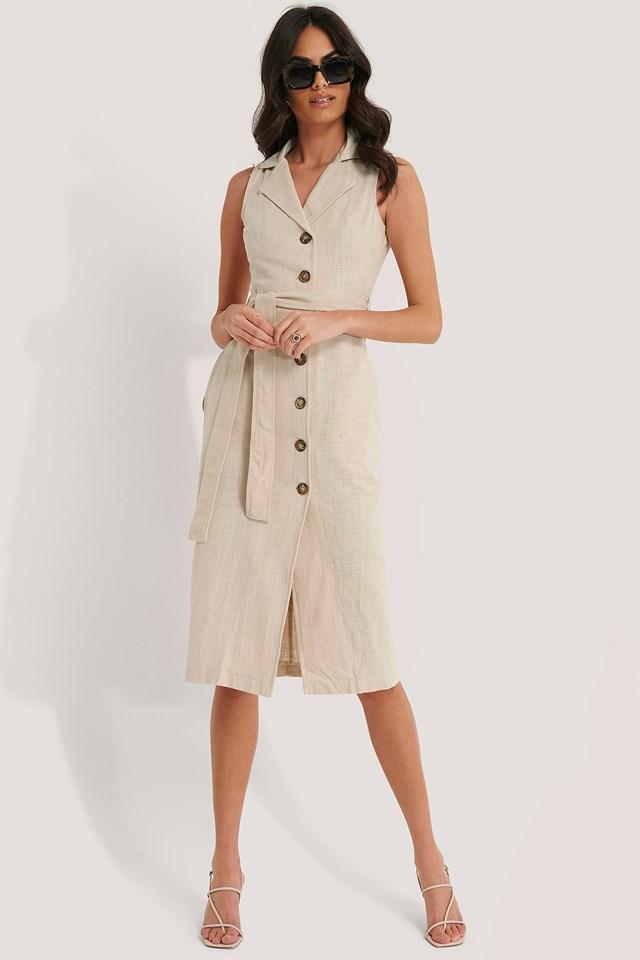 Sleeveless Midi Dress Beige