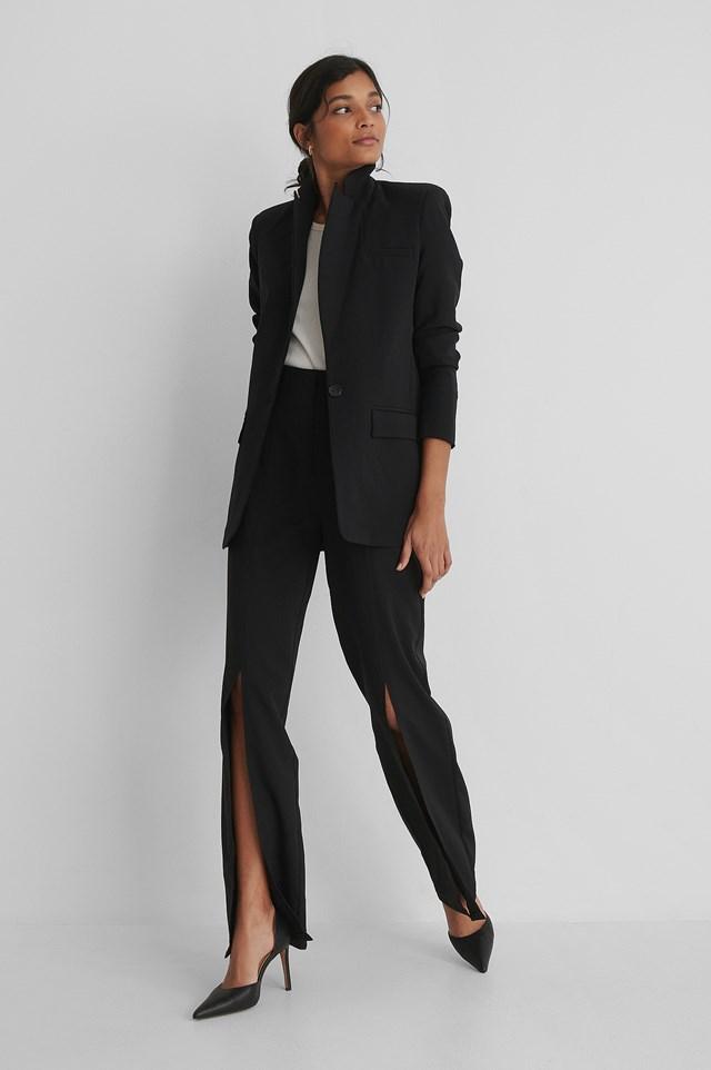 Slit Detail Trousers Black