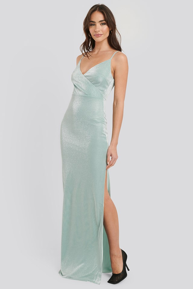 Sparkly Split Maxi Dress Green