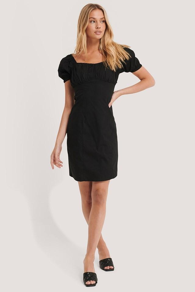 Square Collar Mini Dress Black