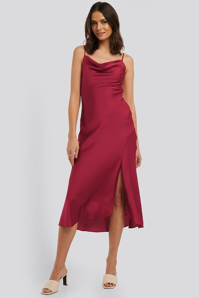 Thin Strap Midi Dress Fuchsia