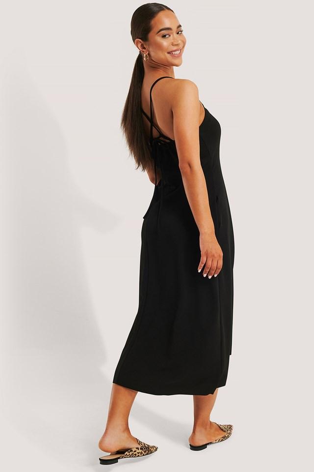 Tile Back Detail Midi Dress Black