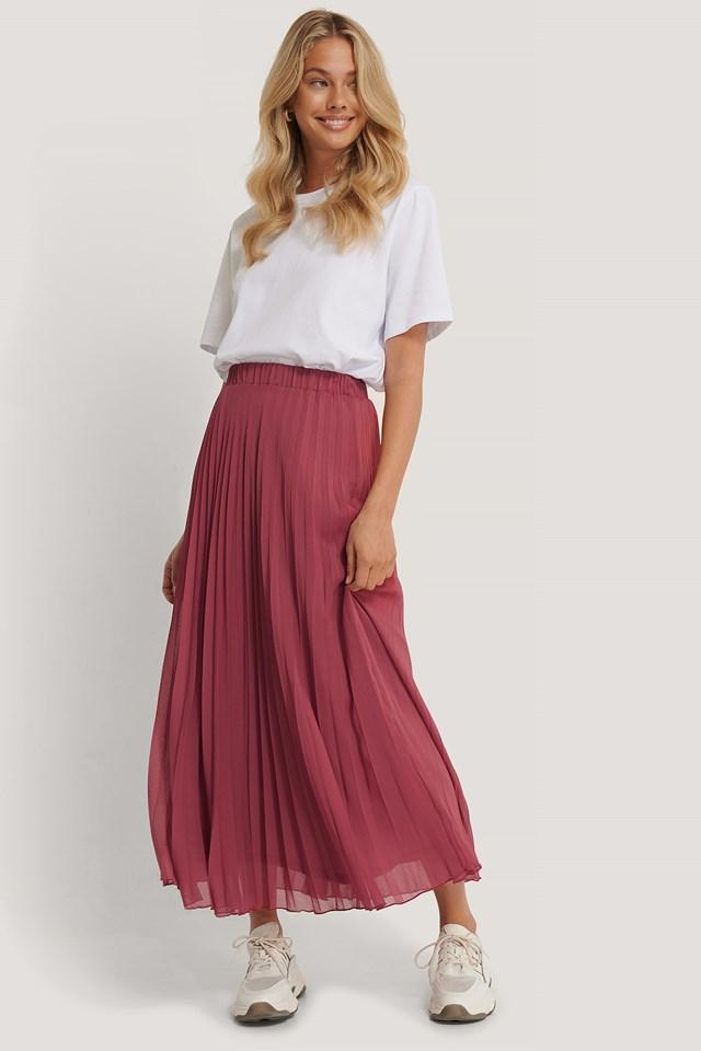 Tile Pleated Skirt Brick
