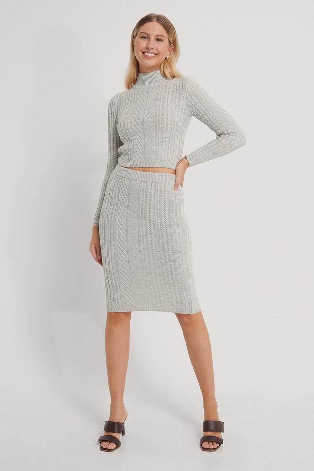 Top Skirt Knit Set Gray