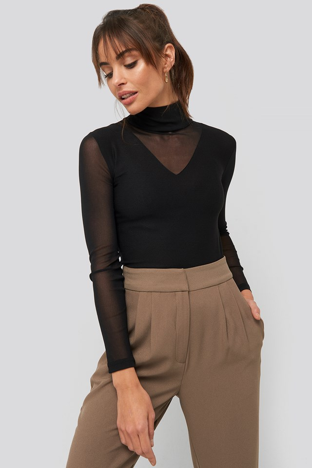 Transparent Knitted Blouse Black