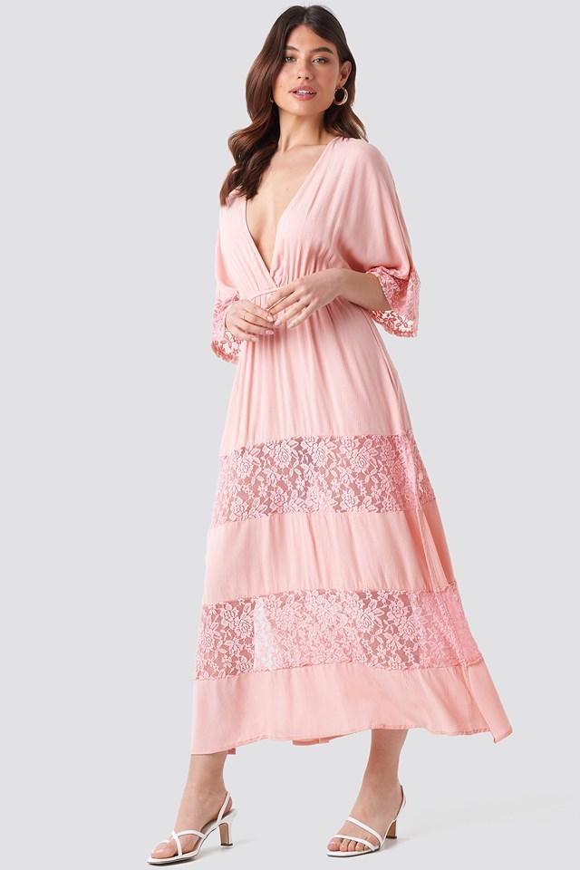 Tulum Lace Maxi Dress Powder Pink