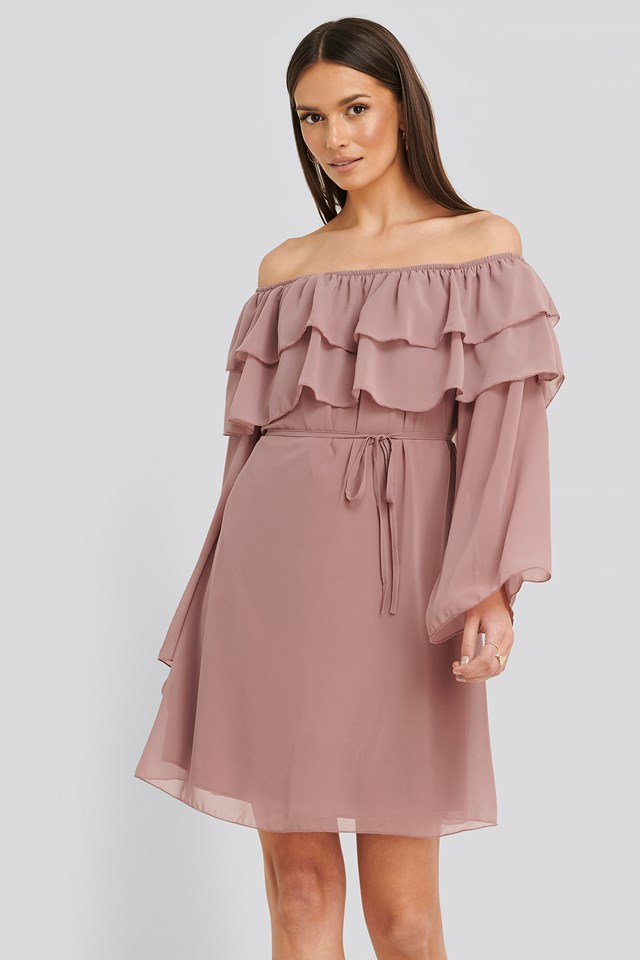 Tulum Ruffle Detail Dress Dusty Rose