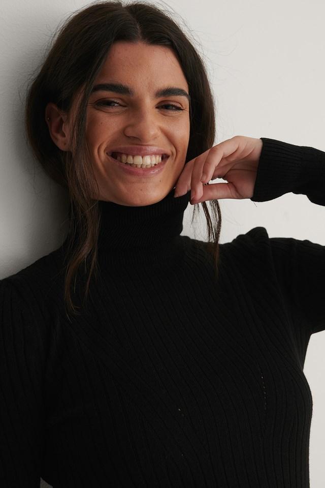 Turtleneck Knit Sweater Black