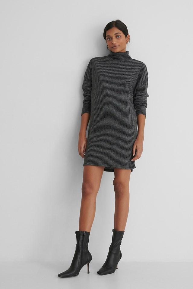 Turtleneck Knit Sweater Dress Antracite