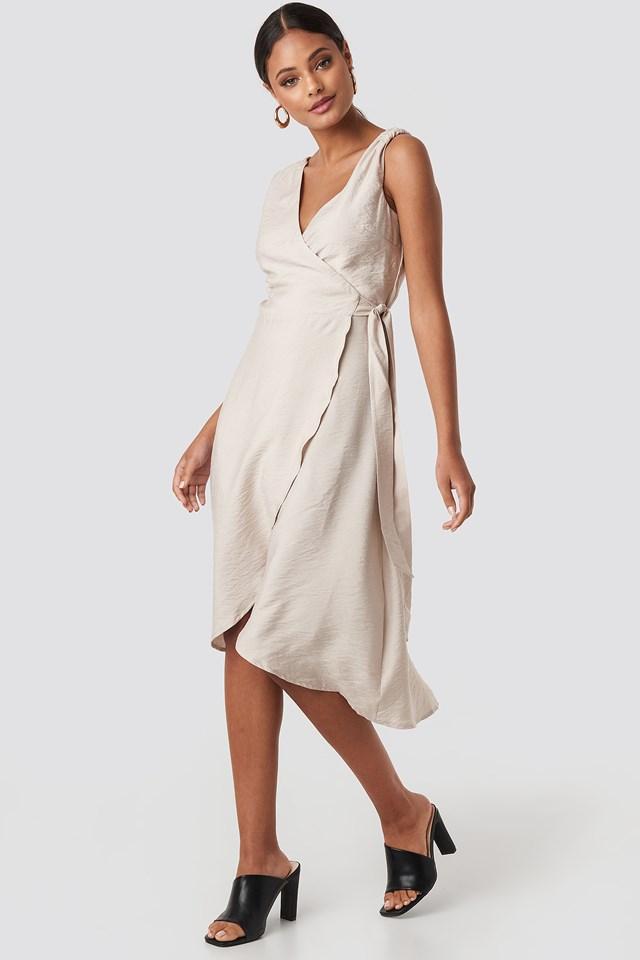 V-Neck Binding Midi Dress Stone