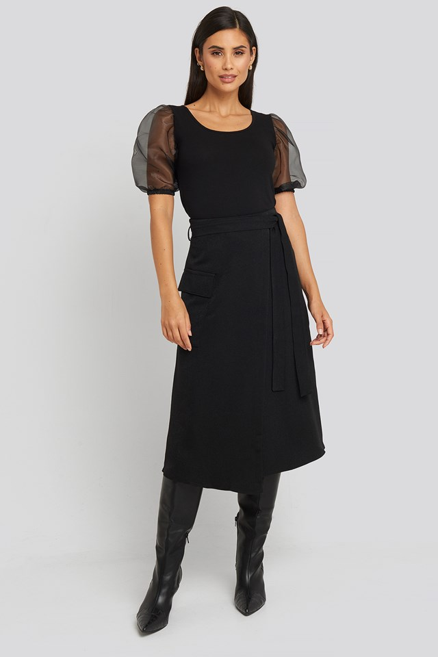 Waist Binding Overlap Midi Skirt Black