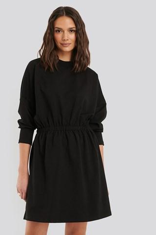 Black Waist Pleated Mini Dress