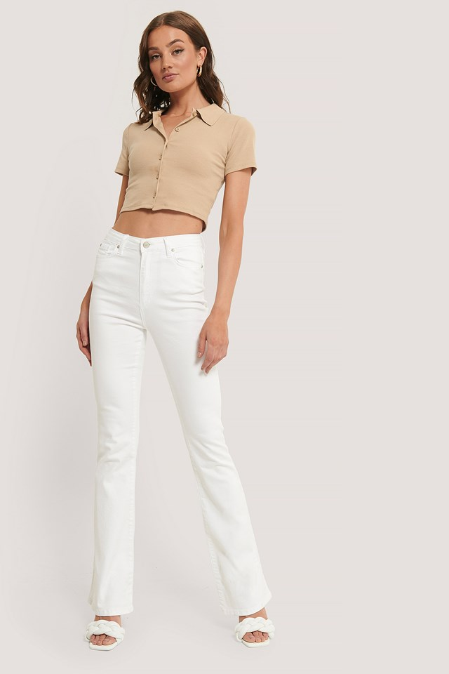 Wos High Waist Flare Jeans White