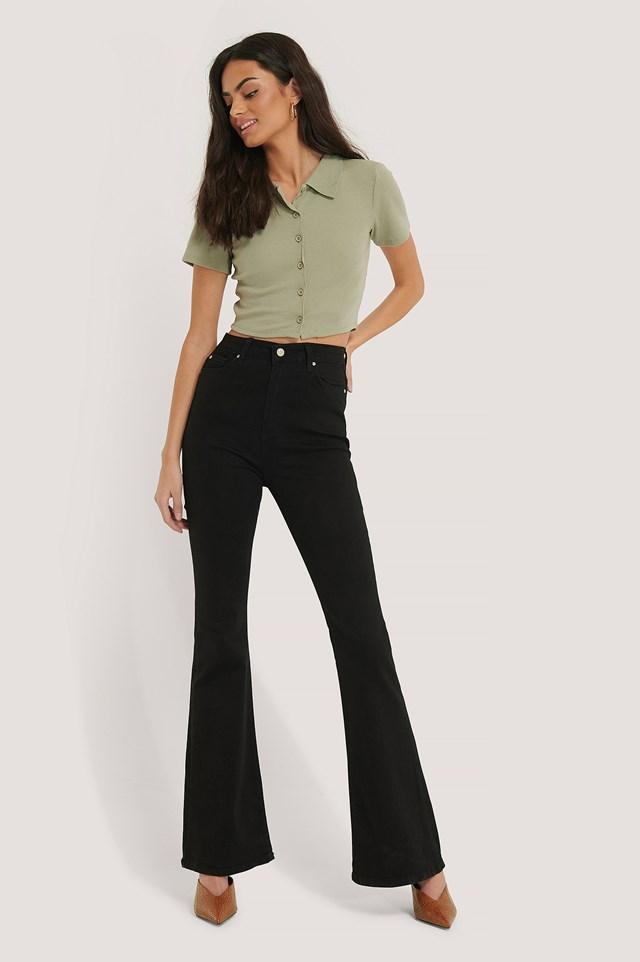 Wos High Waist Flare Jeans Black