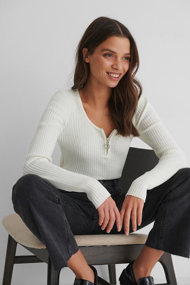 Zippered Knit Top Mink