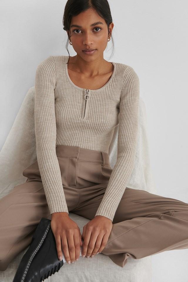 Zippered Knit Top Ecru