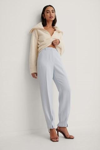 Blue Ankle Detail Suit Pants