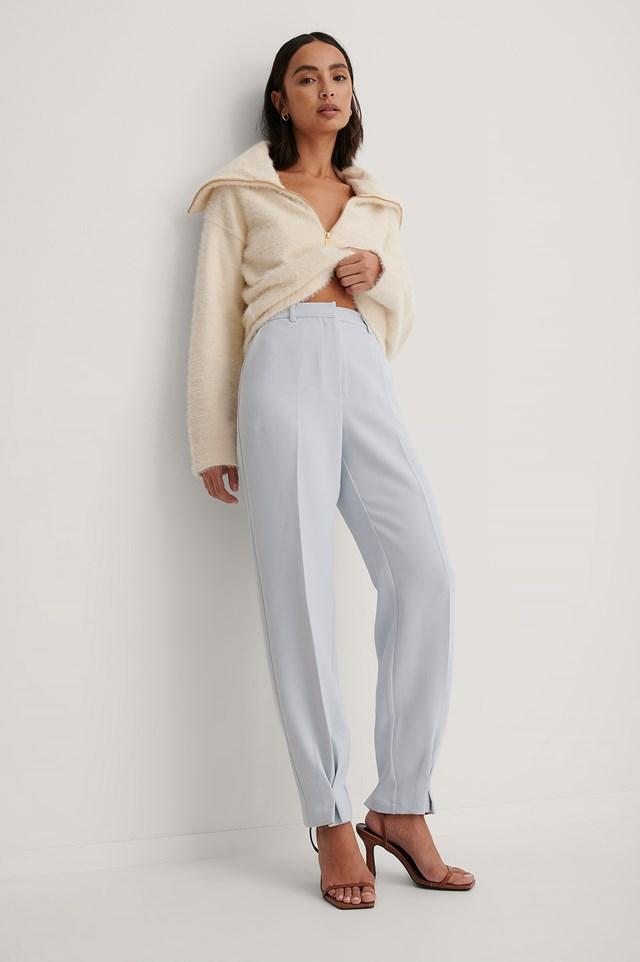 Ankle Detail Suit Pants Blue
