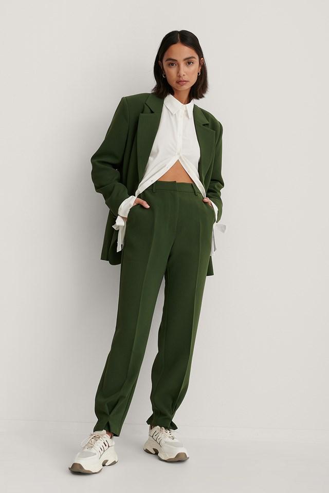 Ankle Detail Suit Pants Dark Green