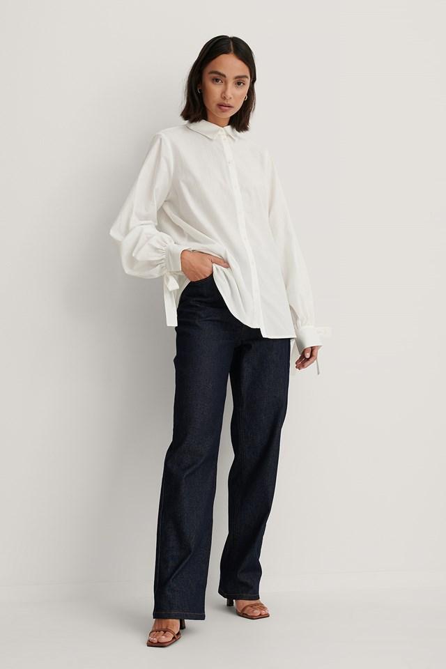 Balloon Sleeve Strap Detail Shirt White