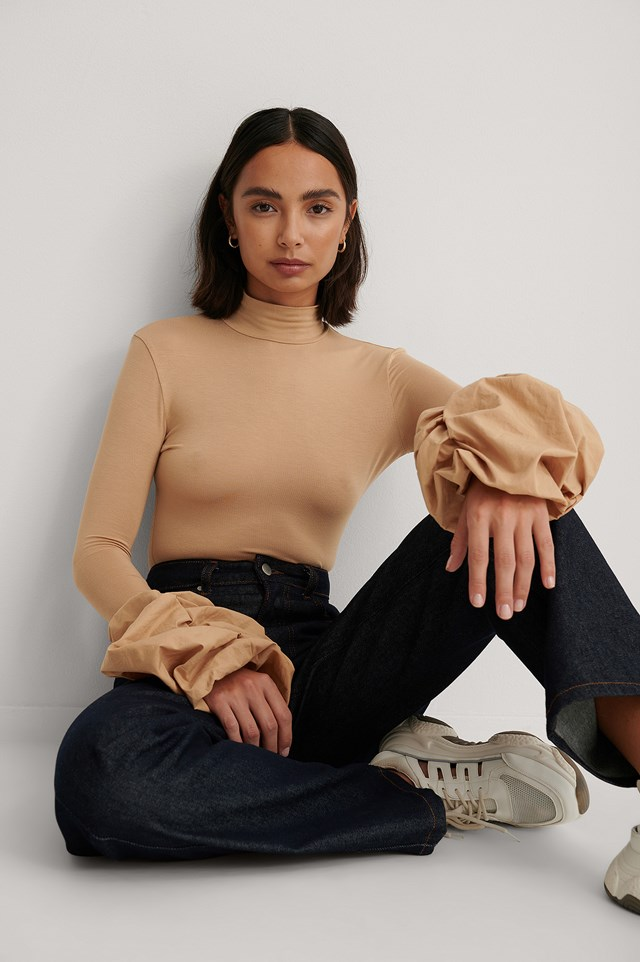 Draped Sleeve Fitted Top Beige