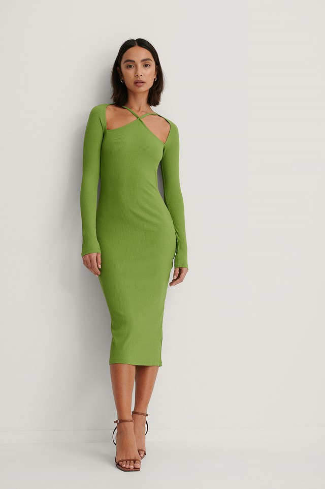 Front Detail Long Sleeve Dress Green