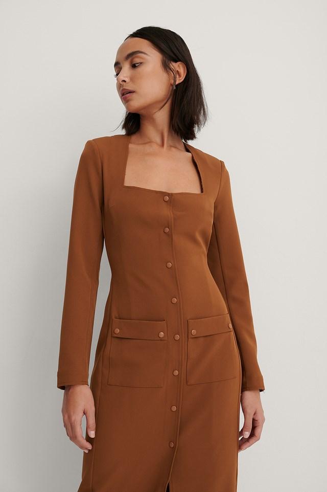 Front Pocket Detail Dress Brown