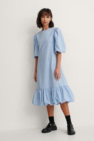 Blue Back Detail Volume Sleeve Dress