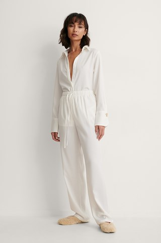 White Recycled Tie Waist Straight Pants
