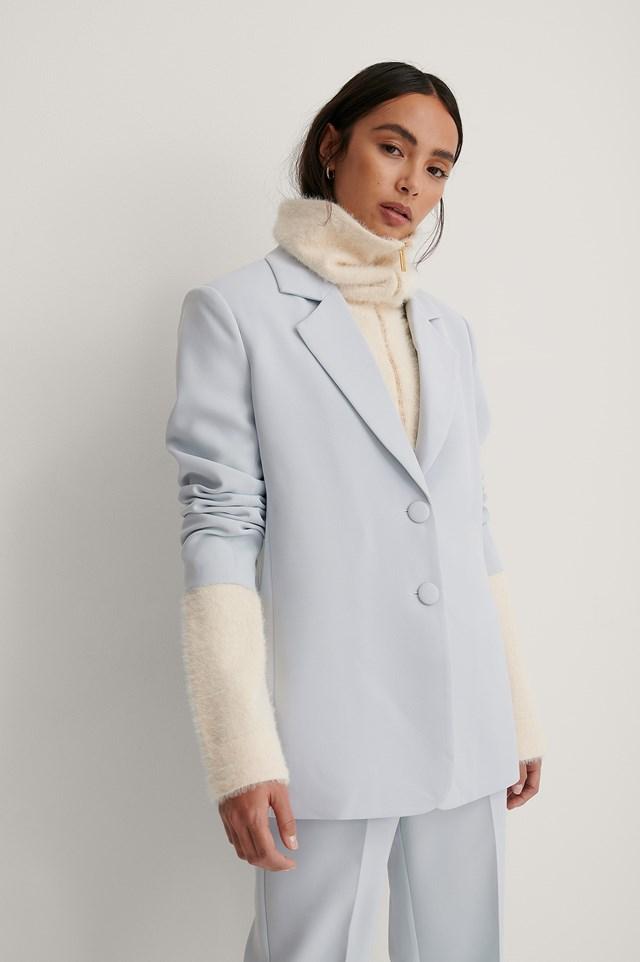Marked Shoulders Blazer Blue