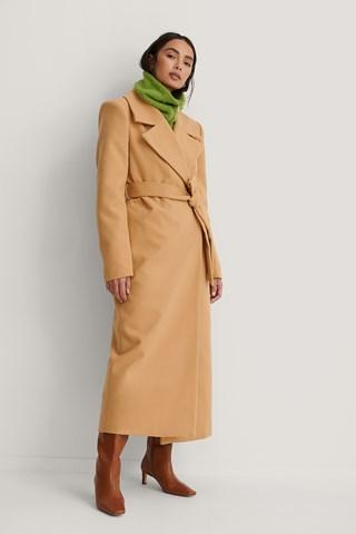 Beige Marked Shoulders Coat