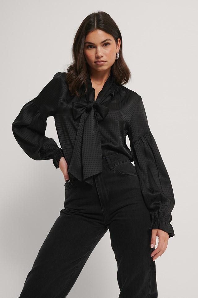 Zara Boe Tie Blouse Black