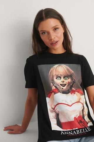Black Print Annabell Basic Printed Roundneck T-shirt