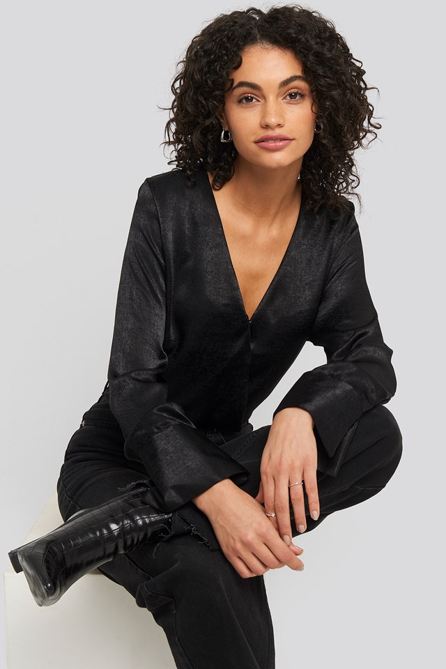 Wrap Satin Blouse Black