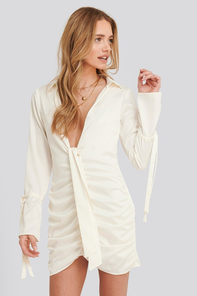 Cassie Front Knot Dress Offwhite
