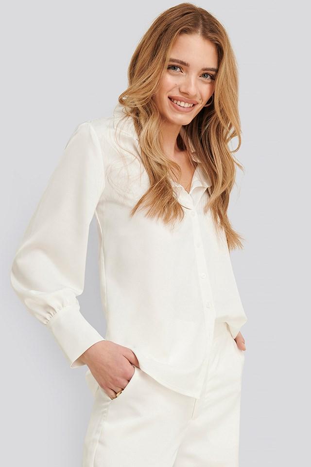 White Jessie Satin Shirt