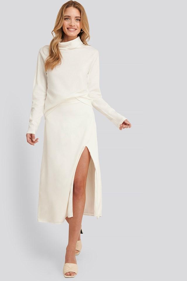 Olivia Slit Midi Skirt White