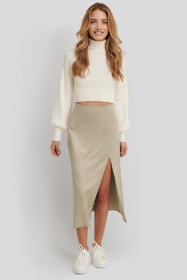 Olivia Slit Midi Skirt Light Beige